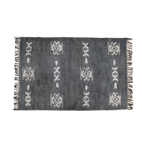 Hamadan - Block Printed Rug with Fringes