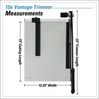Dahle Vantage® 15e Trimmer InfoGraphic - Measurements