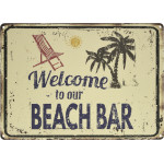 "Aluminum Welcome to Our Beach Bar Sign, 10"" x 14"""