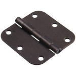 "Hardware Essentials 5/8"" Oil Rubbed Bronze Round Corner Residential Door Hinges with Removable Pin"