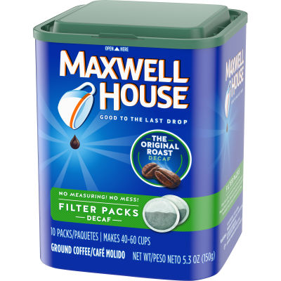 Maxwell House Filter Packs Decaffeinated Coffee 5.3 oz Canister