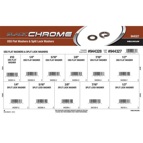 Black Chrome USS Flat Washers & Split Lock Washers Assortment