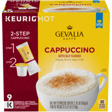 Gevalia Cappuccino K Cup Espresso Coffee Pods & Cappuccino Froth Packets, 9 ct Box