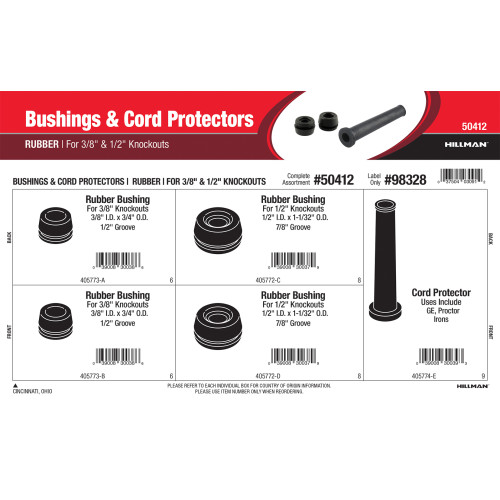 Rubber Bushings & Cord Protectors Assortment (For 3/8
