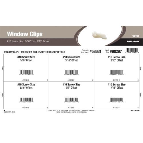 Window Clips Assortment (#10 Screw Size & 1/16