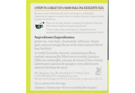 Ingredient panel of Green Tea with Mango Tea box bilingual packaging