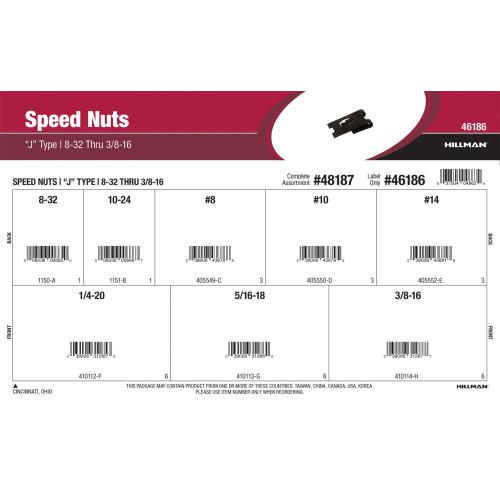 J-Type Speed Nuts Assortment (#8-32 thru 3/8