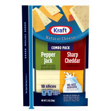 Kraft Pepper Jack & Sharp Cheddar Natural Cheese Slices 18 slices - 7.2 oz Wrapper