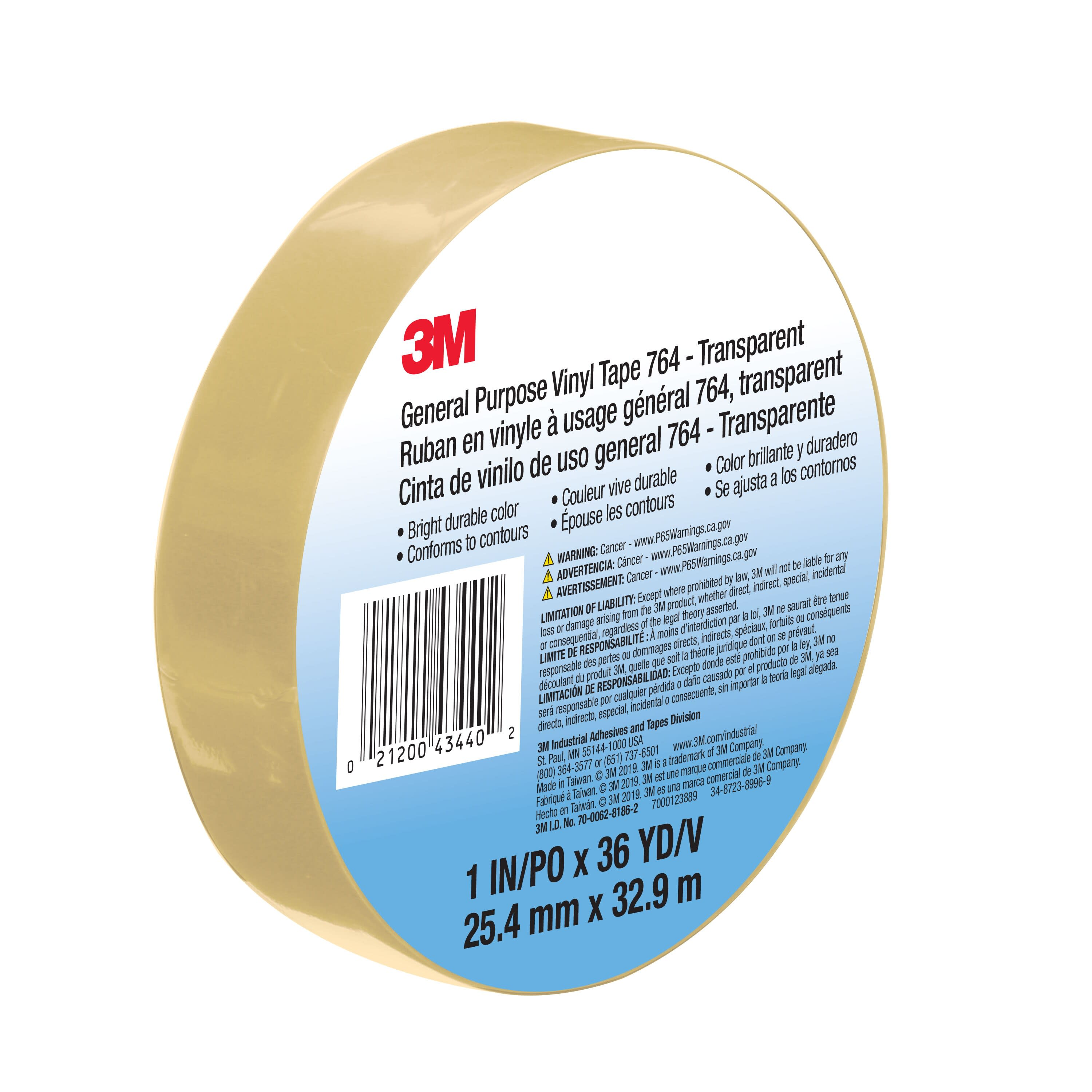 3M™ General Purpose Vinyl Tape 764, Transparent, 1 in x 36 yd, 5 mil, 36 Roll/Case, Individually Wrapped Conveniently Packaged