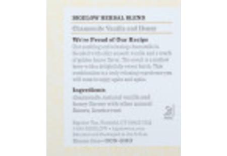 Ingredient panel of Chamomile Vanilla with Honey Herbal Tea box