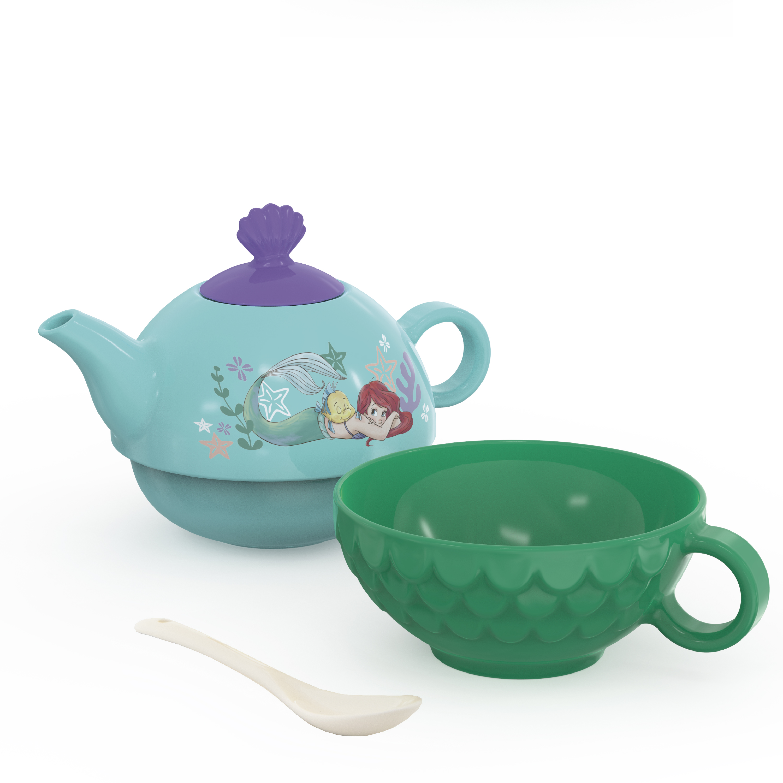 Disney The Little Mermaid Sculpted Ceramic Tea Set, Princess Ariel, 4-piece set slideshow image 2