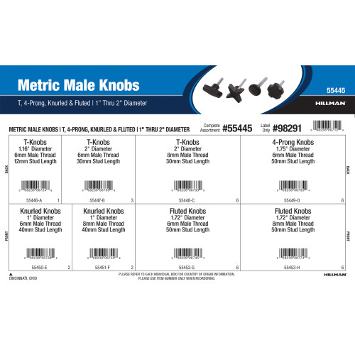 Metric Male Knobs Assortment (T, 4-Prong, Knurled, and Fluted)
