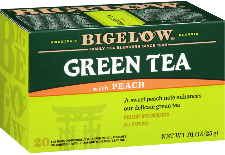 Green Tea with Peach - Case of 6 boxes - total of 120 teabags