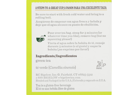 Ingredient panel of Green Tea box bilingual packaging