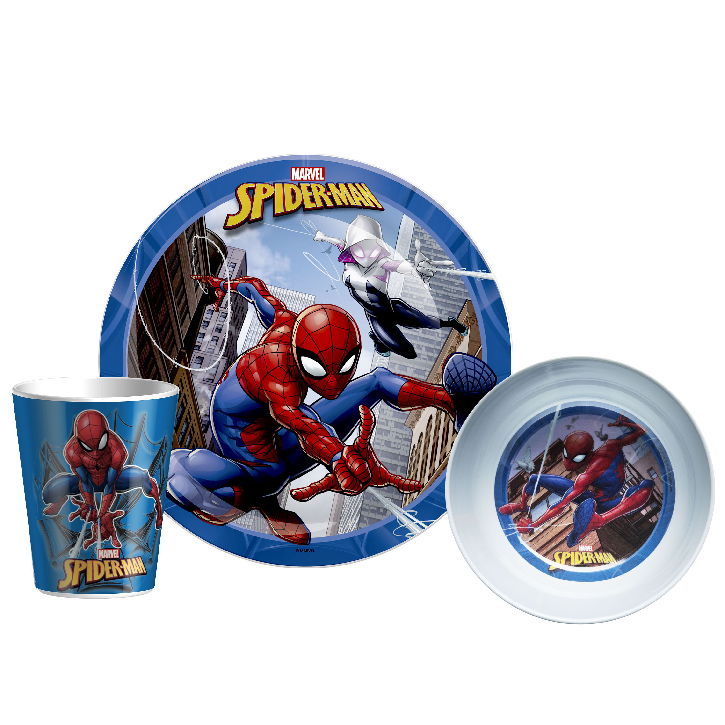 Marvel Kid's Dinnerware Set, Spider-Man, 3-piece set slideshow image 1