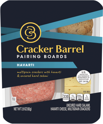 Cracker Barrel Pairing Boards, Havarti, Uncured Hard Salami & Multigrain Crackers, 2.9 oz