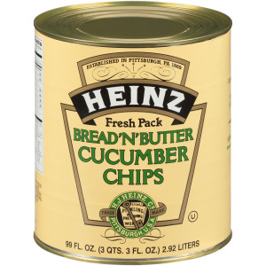 HEINZ Bread & Butter Cucumber Chips #10 Can, 99 fl. oz. (Pack of 6) image