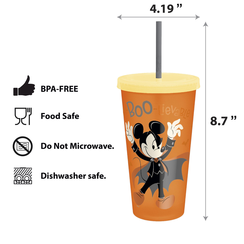 Disney 24 ounce Reusable Plastic Kids Tumbler, Mickey Mouse, 4-piece set slideshow image 3