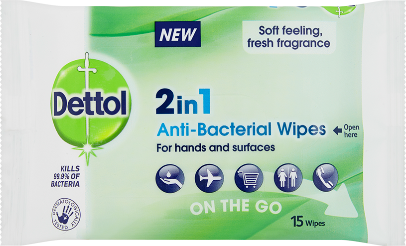 Dettol 2 in 1 Wipes for Hands & Surfaces