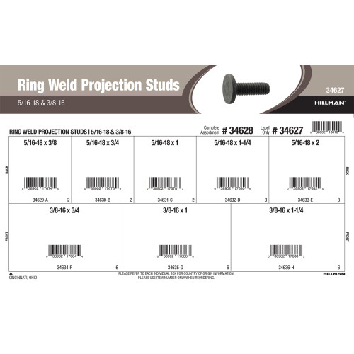 Ring Weld Projection Studs Assortment (5/16