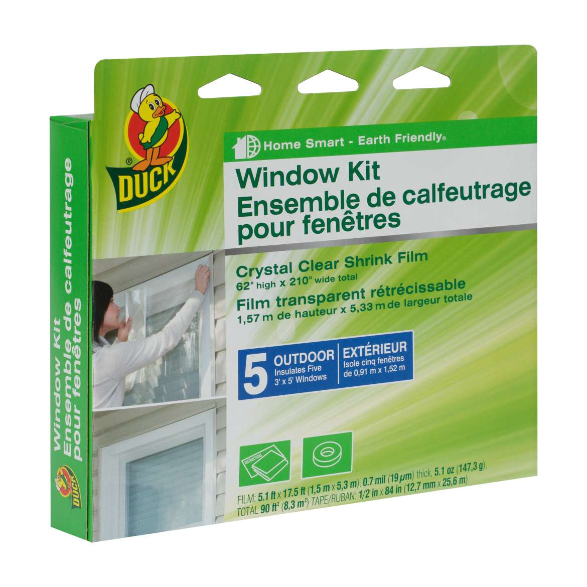 Duck® Brand Shrink Film Window Insulation Kit - Outdoor, 5 pk, 62 in. x 210 in. Image