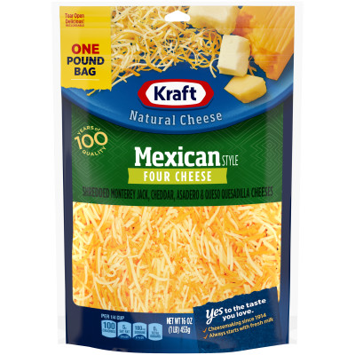 Kraft Mexican Style Four Finely Shredded Natural Cheese 16 oz Pouch