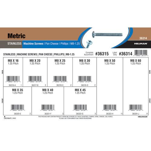 Stainless Steel Phillips Pan Cheese Metric Machine Screws Assortment (M8-1.25)