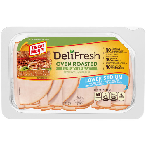 Oscar Mayer Deli Fresh Lower Sodium Oven Roasted Turkey Breast 8 oz Tray