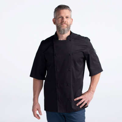 Unisex Modern Short Sleeve Vented Lightweight Chef Coat-