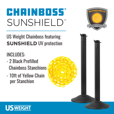 ChainBoss Stanchion - Black Filled with Yellow Chain 2