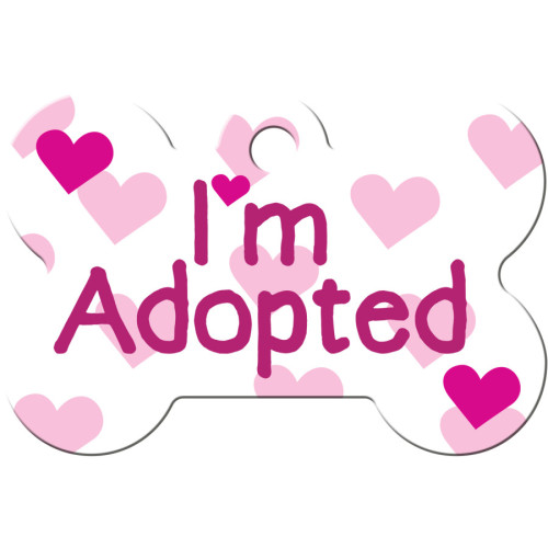 I'm Adopted White Large Bone Quick-Tag 5 Pack