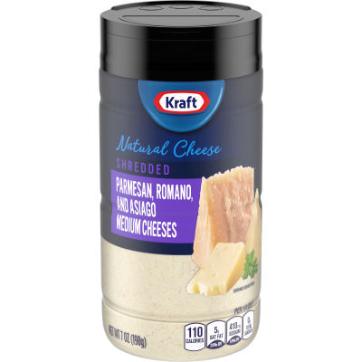 Kraft Shredded Parmesan, Romano & Asiago Shredded Natural Cheeses, 7 oz Jar