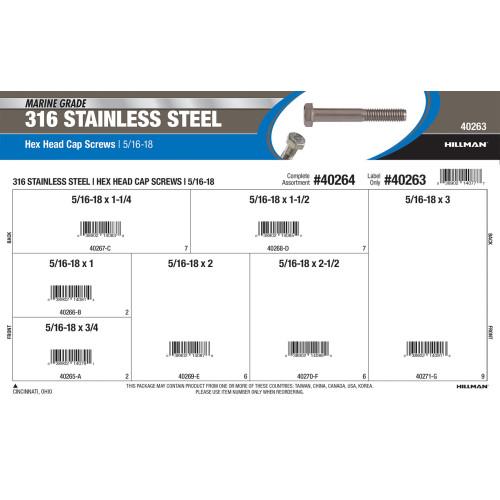 Marine-Grade #316 Stainless Steel Hex Cap Screws Assortment (5/16