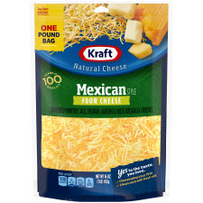Kraft Mexican Style Four Cheese Shredded Natural Cheese 16 oz Bag