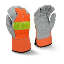 Radians RWG3200HV High Visibility Regular Shoulder Gray Split Cowhide Leather Palm Glove