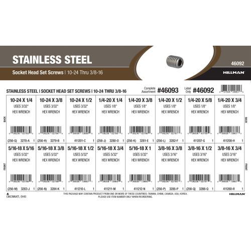 Stainless Steel Socket-Head Set Screws Assortment (#10-24 thru 3/8