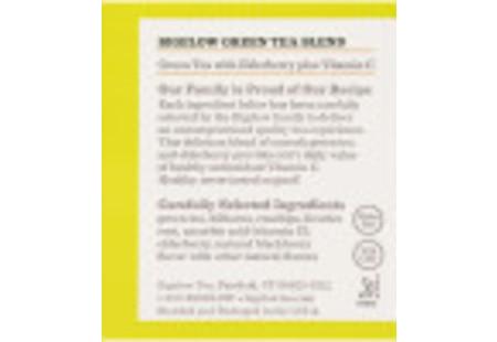 Ingredient panel of Green Tea with Elderberry plus Vitamin C box