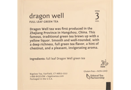 steep cafe by Bigelow full leaf dragonwell green tea pyramid bag in overwrap - Ingredient list