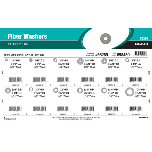Fiber Washers Assortment (1/4