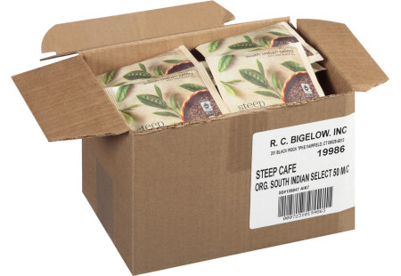 steep cafe by Bigelow organic full leaf south indian select black tea pyramid bag in overwrap