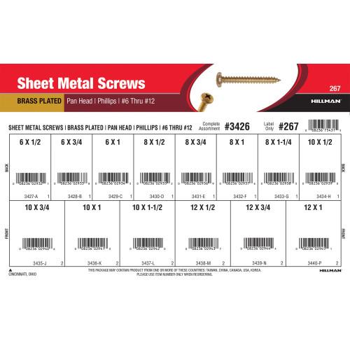 Phillips Pan-Head Brass Sheet Metal Screws Assortment (#6 thru #12)