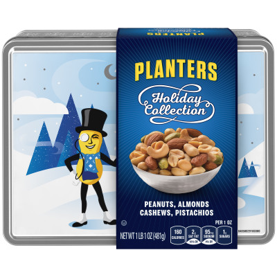 Planters Holiday Collection Peanuts, Almonds, Cashews & Pistachios 17 oz Tin Box