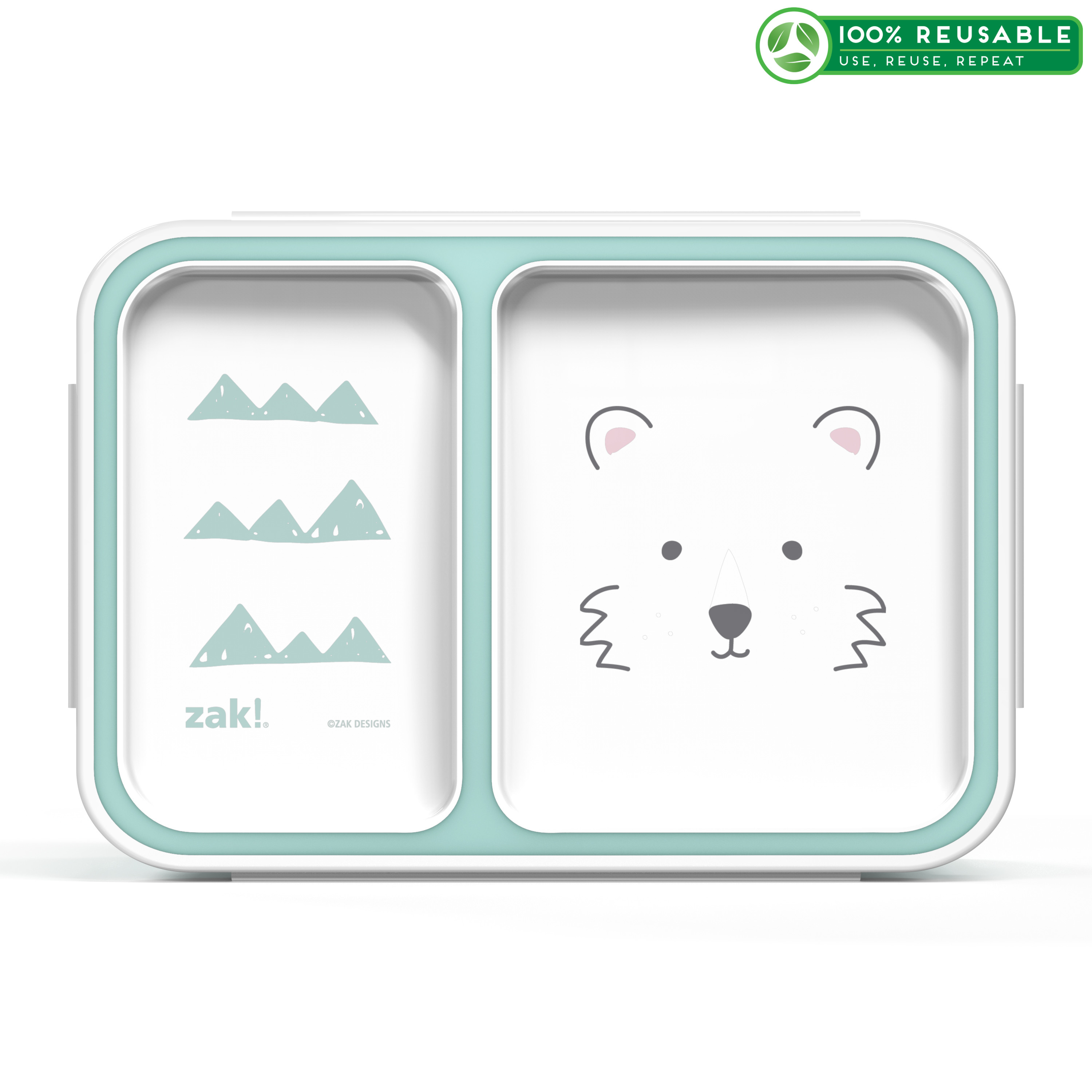 Soft Lines Dual-compartment Reusable Bento Box, Teddy Bears slideshow image 1