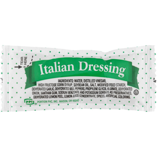 PPI Single Serve Italian Dressing, 12 gr. Pouches (Pack of 500)