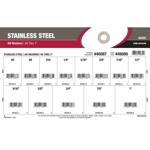 Stainless Steel AN Washers Assortment (#6 thru 1