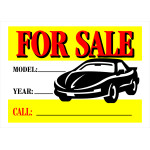 Automobile For Sale With Car Graphic Sign