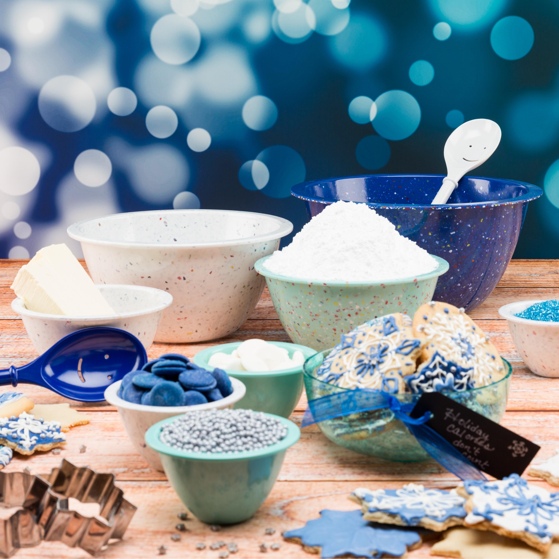 Confetti Mixing Bowl Set, White, Blue & Mint, 4-piece set