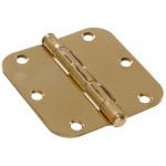 """Hardware Essentials 5/8"""" Round Corner Brite Brass Door Hinges (3-1/2"""")"""