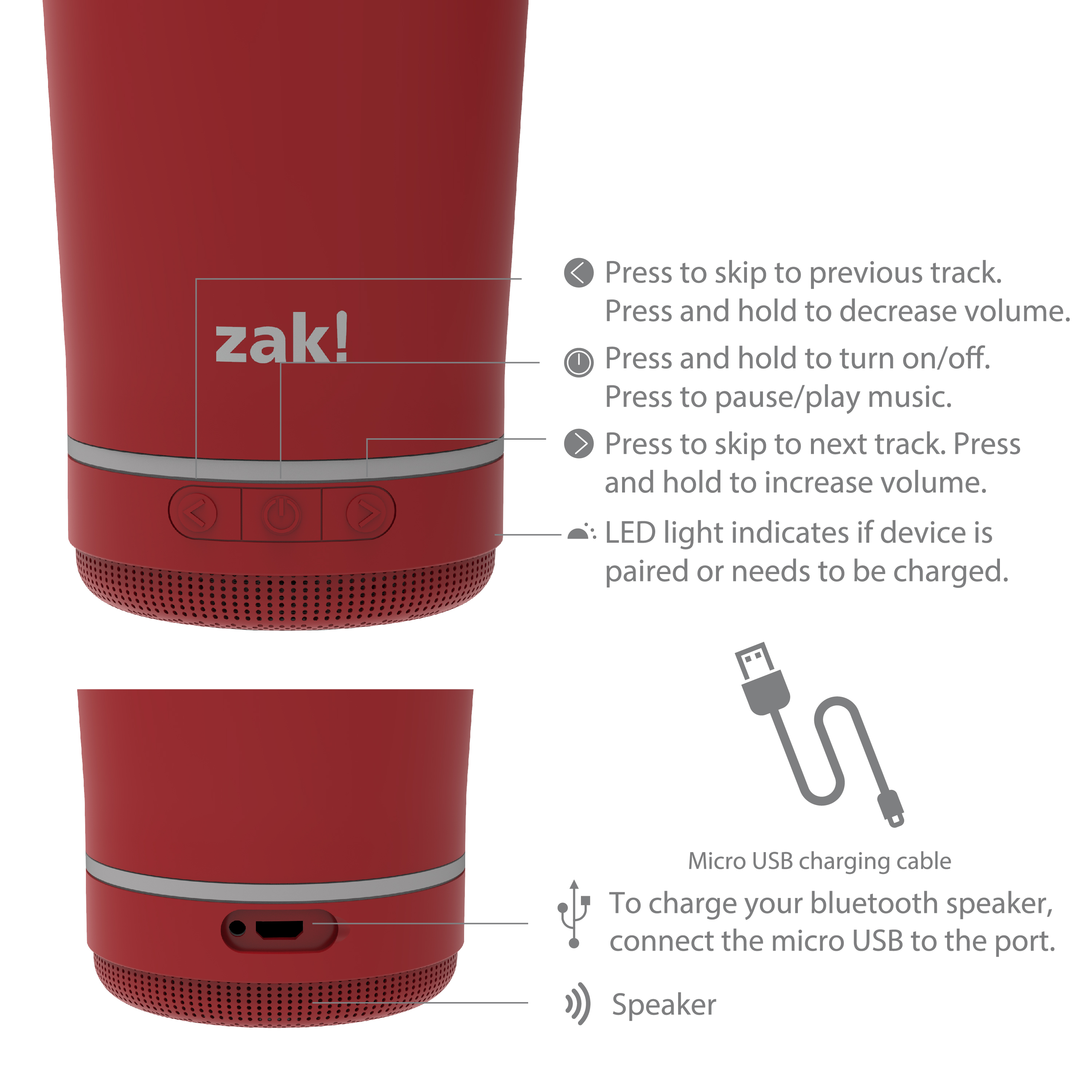 Zak Play 18 ounce Stainless Steel Tumbler with Bluetooth Speaker, Red slideshow image 9