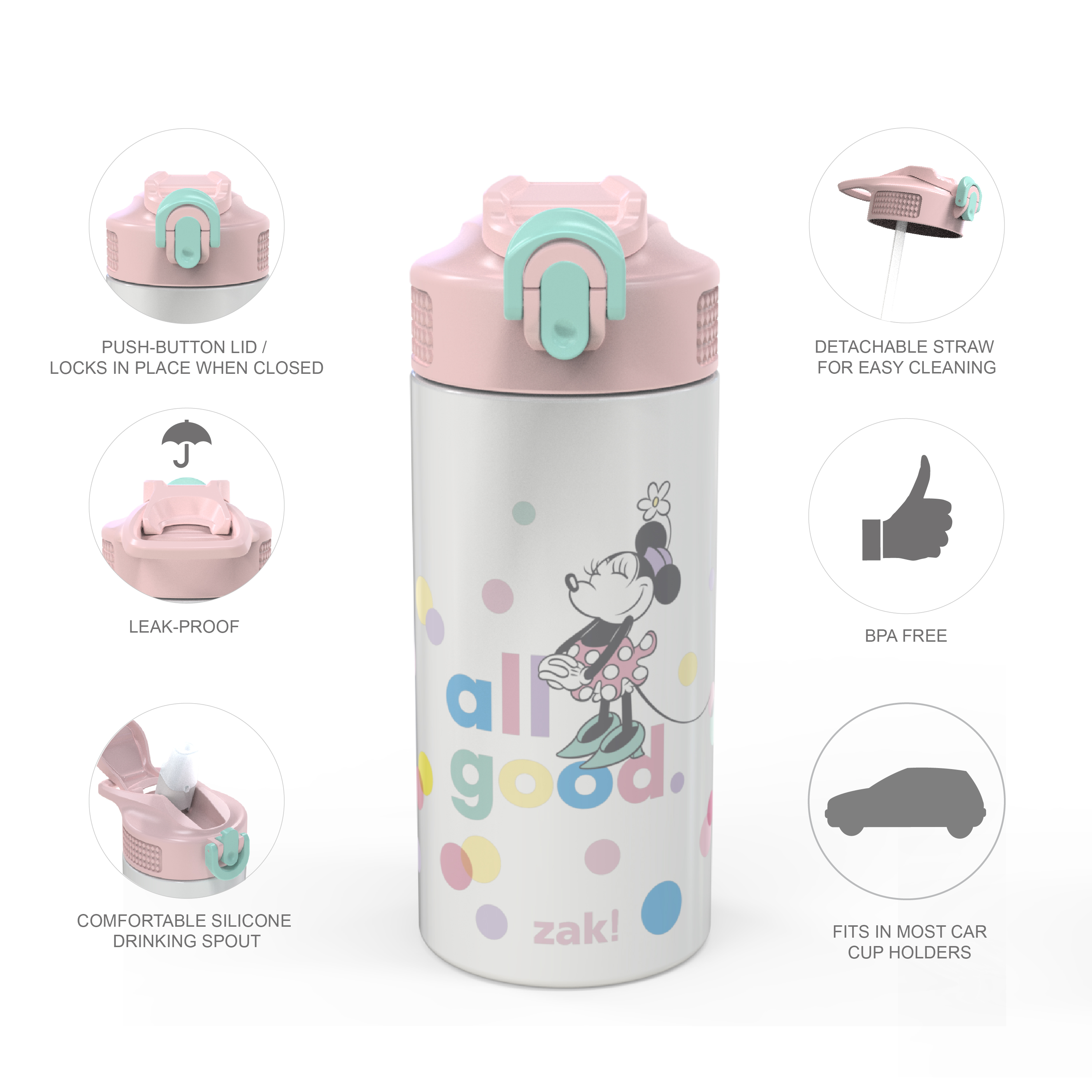 Disney 14 ounce Stainless Steel Vacuum Insulated Water Bottle, Minnie Mouse slideshow image 7